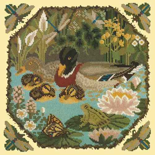 Duck Pond Needlepoint Kit Elizabeth Bradley Design Butter Yellow