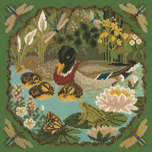 Duck Pond Needlepoint Kit Elizabeth Bradley Design Dark Green