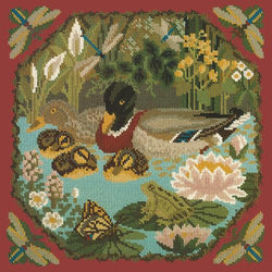 Duck Pond Needlepoint Kit Elizabeth Bradley Design Dark Red