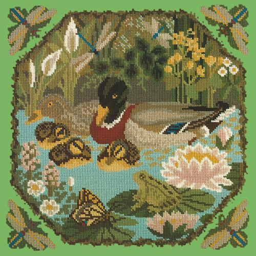 Duck Pond Needlepoint Kit Elizabeth Bradley Design Grass Green