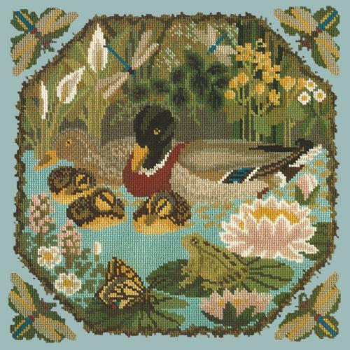Duck Pond Needlepoint Kit Elizabeth Bradley Design Pale Blue