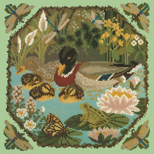 Duck Pond Needlepoint Kit Elizabeth Bradley Design Pale Green
