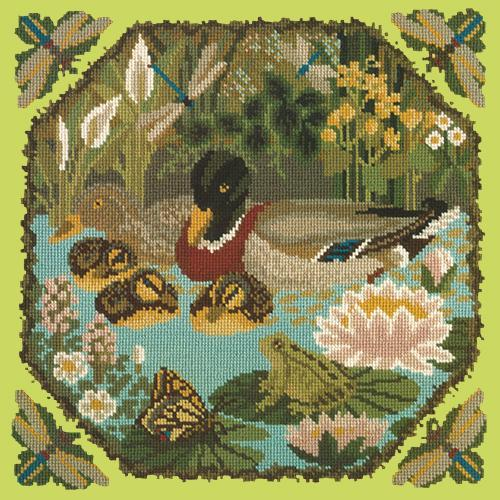 Duck Pond Needlepoint Kit Elizabeth Bradley Design Pale Lime