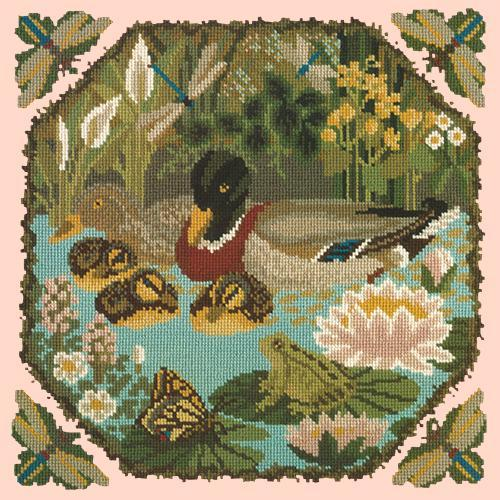 Duck Pond Needlepoint Kit Elizabeth Bradley Design Salmon Pink