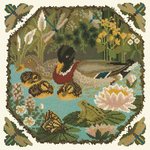 Duck Pond Needlepoint Kit Elizabeth Bradley Design Winter White