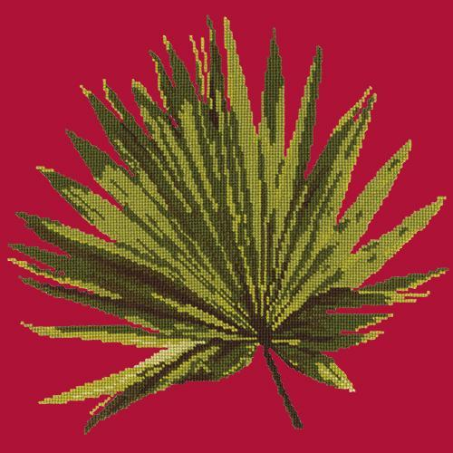 Fan Palm Leaf Needlepoint Kit Elizabeth Bradley Design Bright Red