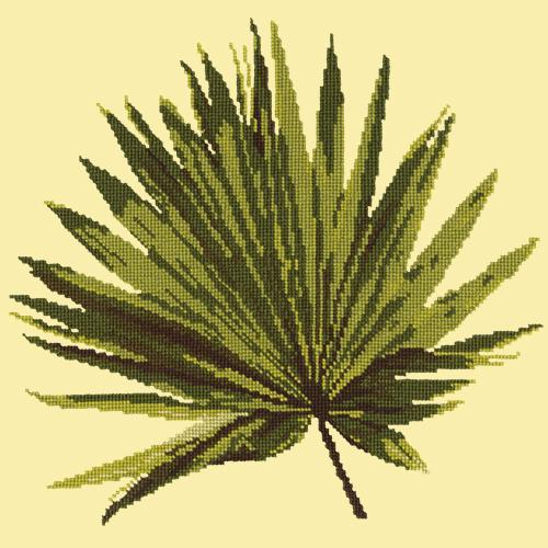 Fan Palm Leaf Needlepoint Kit Elizabeth Bradley Design Butter Yellow