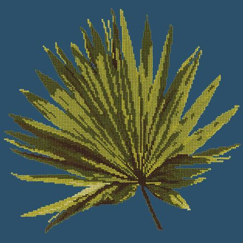 Fan Palm Leaf Needlepoint Kit Elizabeth Bradley Design Dark Blue