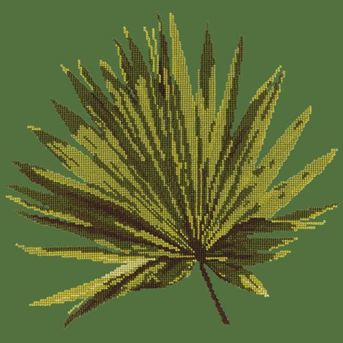 Fan Palm Leaf Needlepoint Kit Elizabeth Bradley Design Dark Green