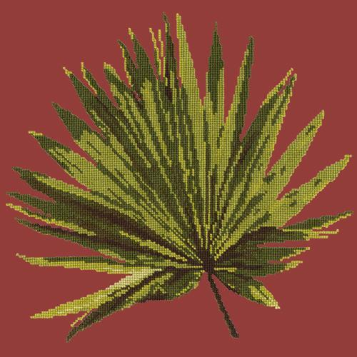 Fan Palm Leaf Needlepoint Kit Elizabeth Bradley Design Dark Red