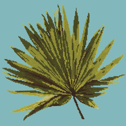 Fan Palm Leaf Needlepoint Kit Elizabeth Bradley Design Duck Egg Blue