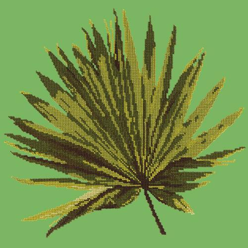 Fan Palm Leaf Needlepoint Kit Elizabeth Bradley Design Grass Green