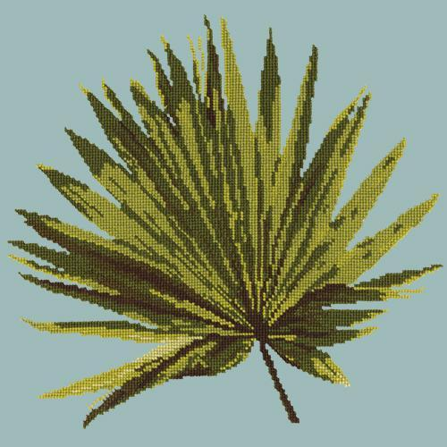 Fan Palm Leaf Needlepoint Kit Elizabeth Bradley Design Pale Blue