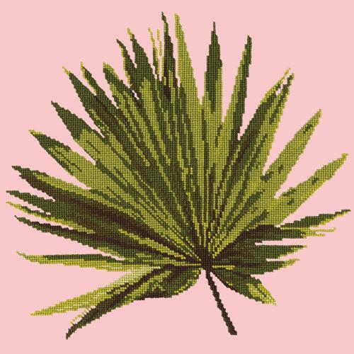 Fan Palm Leaf Needlepoint Kit Elizabeth Bradley Design Pale Rose