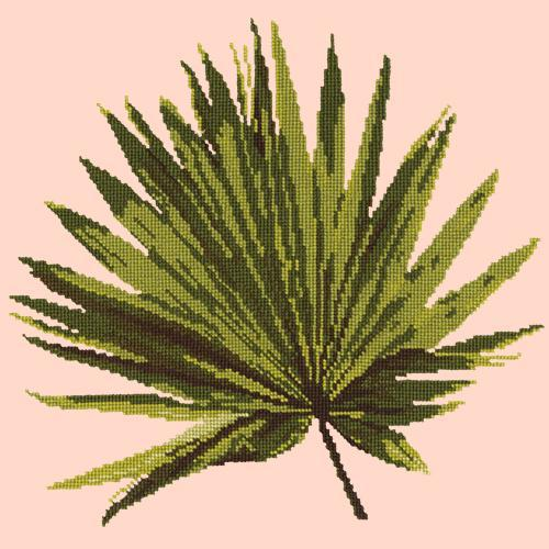 Fan Palm Leaf Needlepoint Kit Elizabeth Bradley Design Salmon Pink