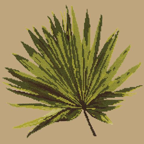 Fan Palm Leaf Needlepoint Kit Elizabeth Bradley Design Sand