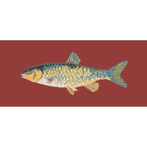Freshwater Chub Needlepoint Kit Elizabeth Bradley Design Dark Red