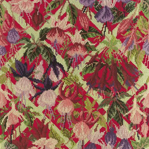 Fuchsia Trellis Needlepoint Kit Elizabeth Bradley Design Bright Red