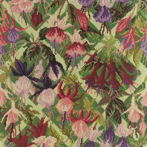 Fuchsia Trellis Needlepoint Kit Elizabeth Bradley Design Dark Green