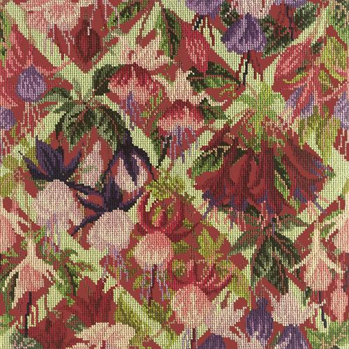 Fuchsia Trellis Needlepoint Kit Elizabeth Bradley Design Dark Red