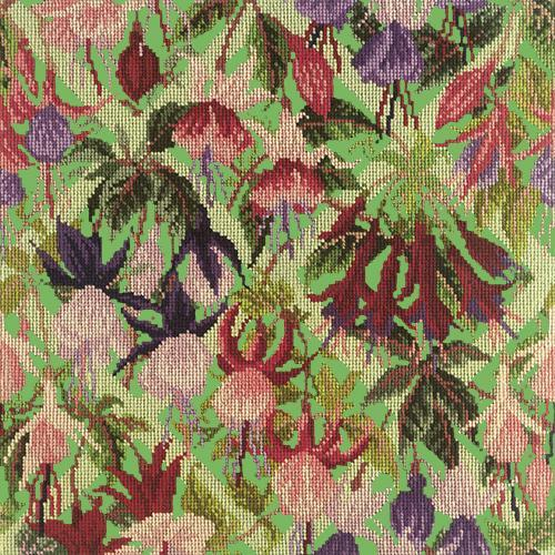 Fuchsia Trellis Needlepoint Kit Elizabeth Bradley Design Grass Green