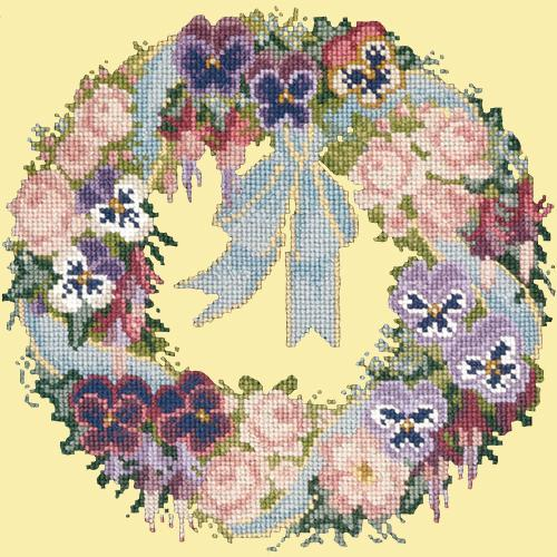 Garland of Pansies Needlepoint Kit Elizabeth Bradley Design Butter Yellow