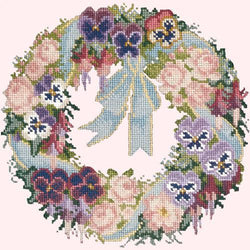 Garland of Pansies Needlepoint Kit Elizabeth Bradley Design Cream