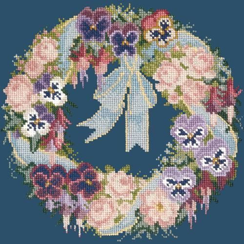 Garland of Pansies Needlepoint Kit Elizabeth Bradley Design Dark Blue
