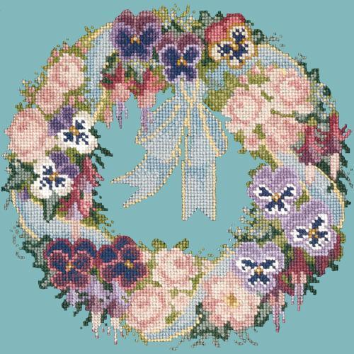Garland of Pansies Needlepoint Kit Elizabeth Bradley Design Duck Egg Blue