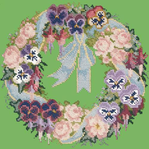 Garland of Pansies Needlepoint Kit Elizabeth Bradley Design Grass Green