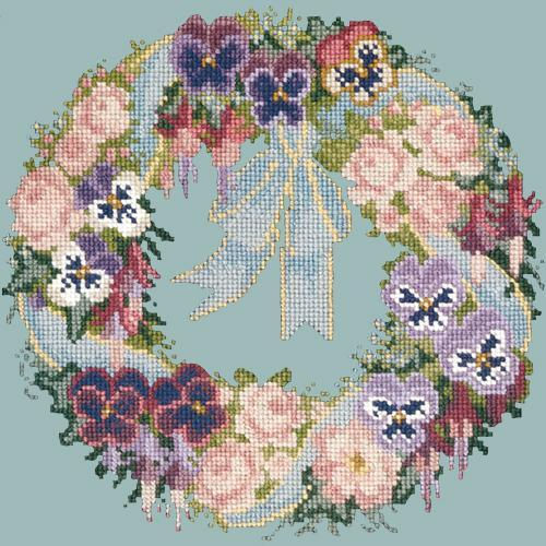 Garland of Pansies Needlepoint Kit Elizabeth Bradley Design Pale Blue