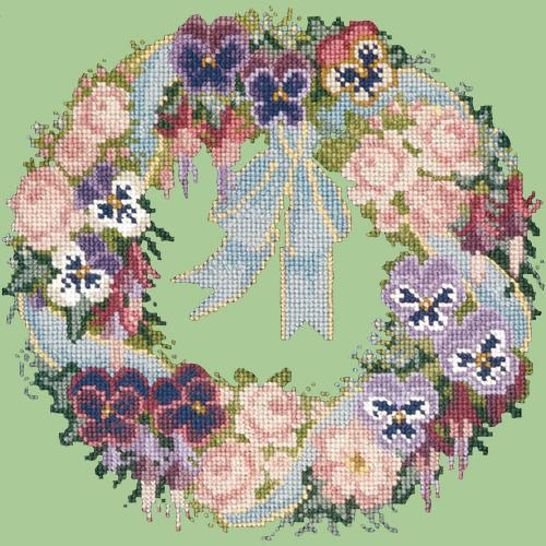 Garland of Pansies Needlepoint Kit Elizabeth Bradley Design Pale Green
