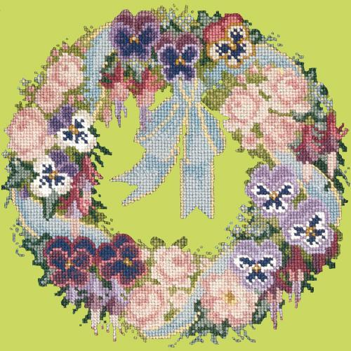 Garland of Pansies Needlepoint Kit Elizabeth Bradley Design Pale Lime