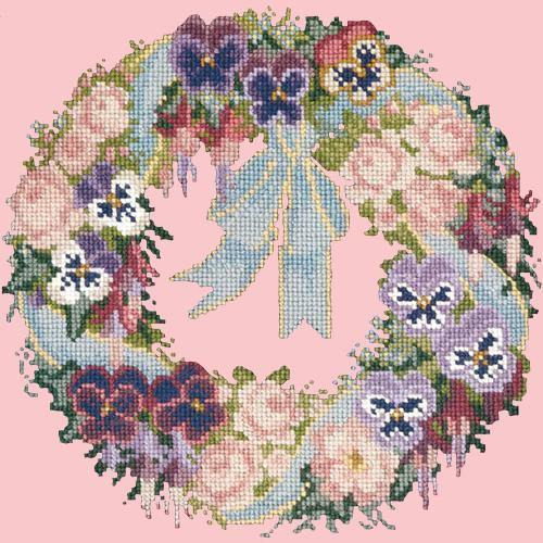 Garland of Pansies Needlepoint Kit Elizabeth Bradley Design Pale Rose