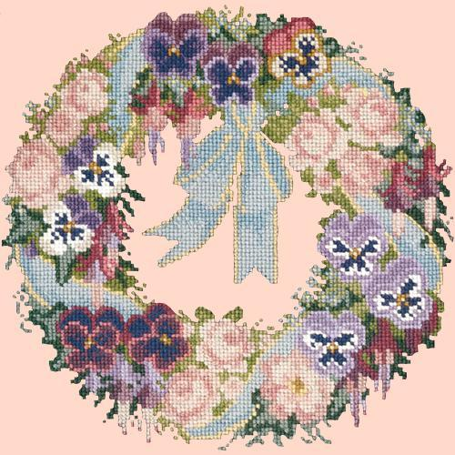 Garland of Pansies Needlepoint Kit Elizabeth Bradley Design Salmon Pink