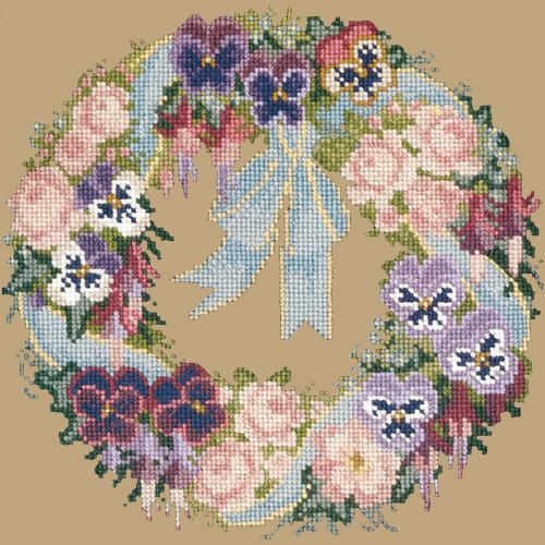 Garland of Pansies Needlepoint Kit Elizabeth Bradley Design Sand
