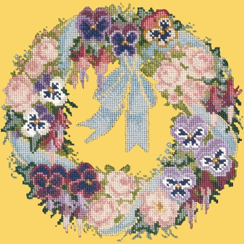 Garland of Pansies Needlepoint Kit Elizabeth Bradley Design Sunflower Yellow