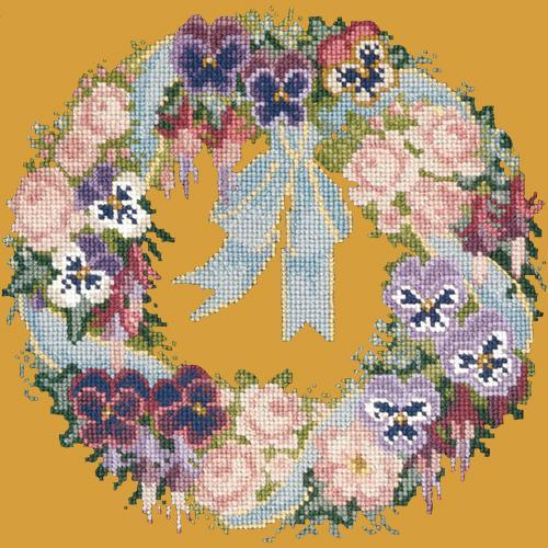 Garland of Pansies Needlepoint Kit Elizabeth Bradley Design Yellow