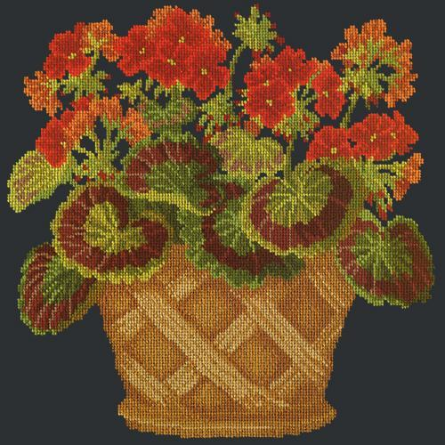 Geranium Pot Needlepoint Kit Elizabeth Bradley Design Black