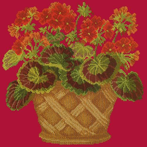 Geranium Pot Needlepoint Kit Elizabeth Bradley Design Bright Red