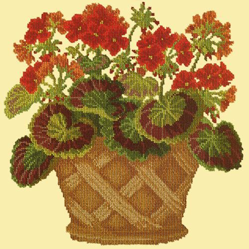 Geranium Pot Needlepoint Kit Elizabeth Bradley Design Butter Yellow