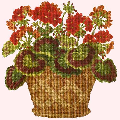 Geranium Pot Needlepoint Kit Elizabeth Bradley Design Cream