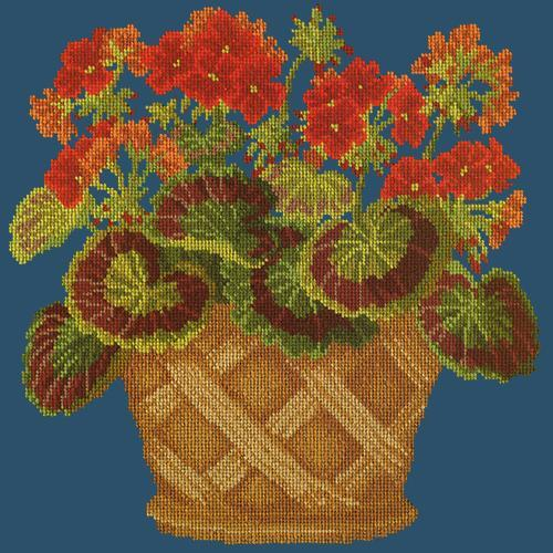 Geranium Pot Needlepoint Kit Elizabeth Bradley Design Dark Blue