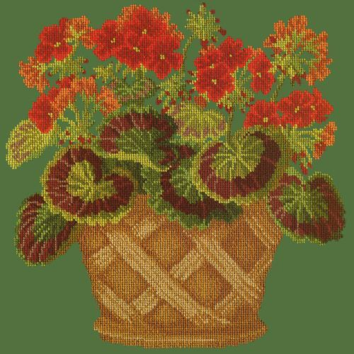 Geranium Pot Needlepoint Kit Elizabeth Bradley Design Dark Green