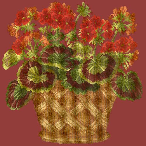 Geranium Pot Needlepoint Kit Elizabeth Bradley Design Dark Red