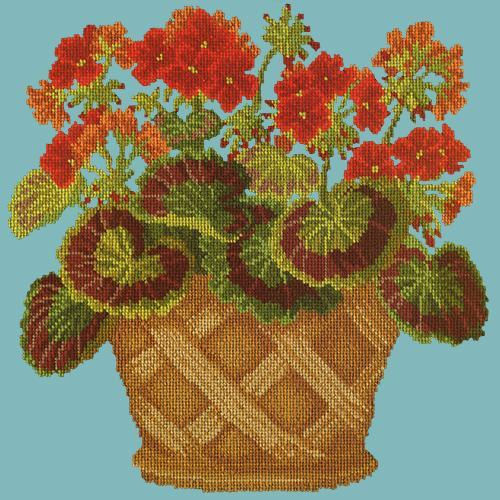 Geranium Pot Needlepoint Kit Elizabeth Bradley Design Duck Egg Blue