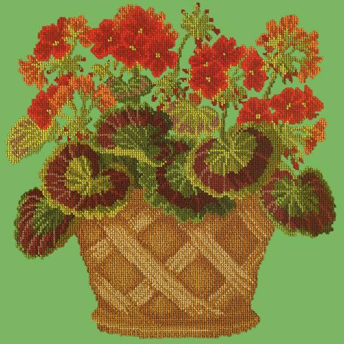 Geranium Pot Needlepoint Kit Elizabeth Bradley Design Grass Green