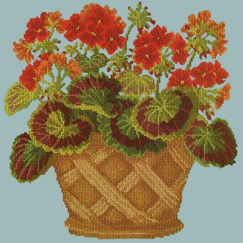 Geranium Pot Needlepoint Kit Elizabeth Bradley Design Pale Blue