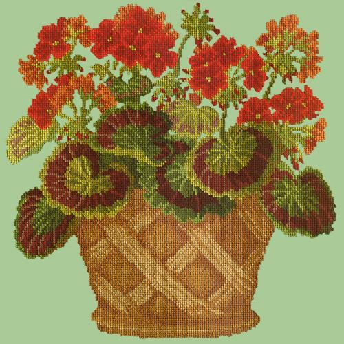 Geranium Pot Needlepoint Kit Elizabeth Bradley Design Pale Green