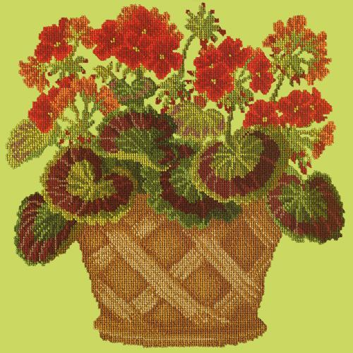 Geranium Pot Needlepoint Kit Elizabeth Bradley Design Pale Lime